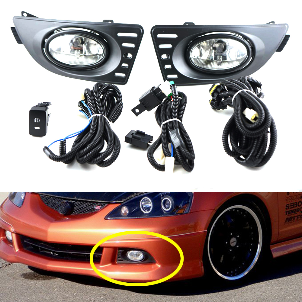 For 05-07 Acura RSX Clear Lens Pair Bumper Fog Lights Lamp