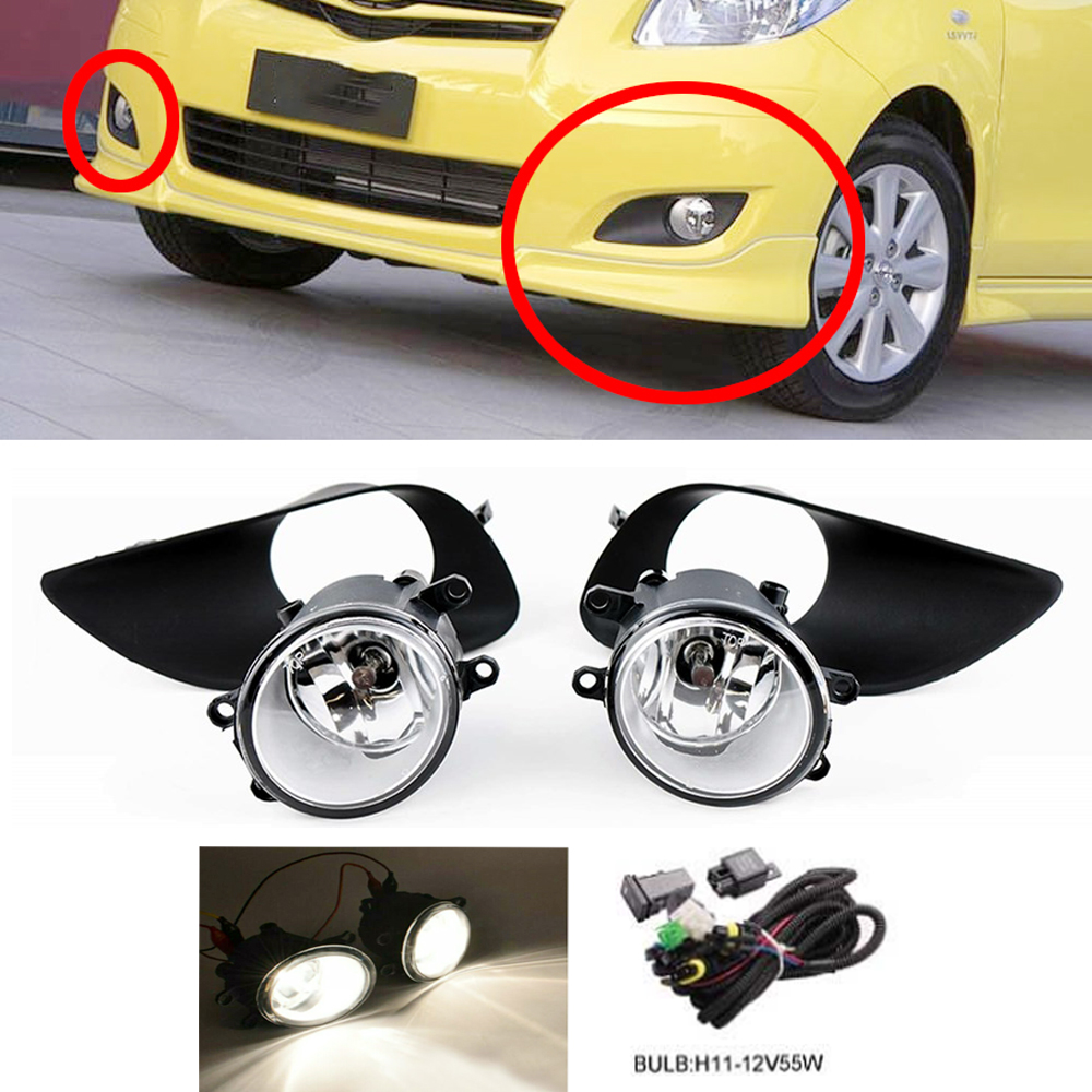 12-14 For Toyota Yaris Clear Lens Pair OE Fog Light Lamp+Wiring+Switch Kit DOT