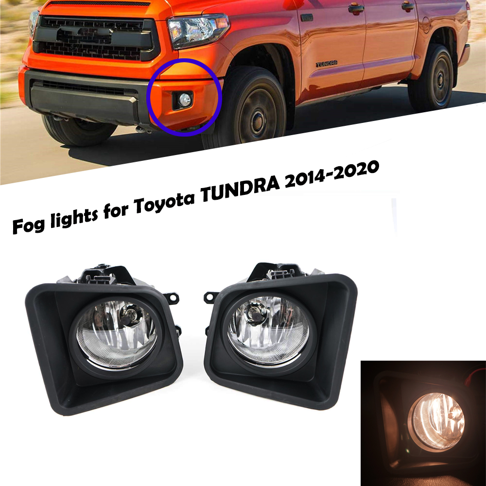 For 2014-2018 Toyota Tundra Clear Bumper Fog Lights Lamps w// Switch Left+Right